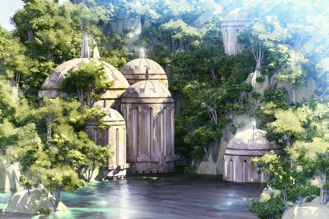 Konachan com - 235907 3d building landscape nobody original scenic tree waisshu (sougyokyuu) water wallpaper