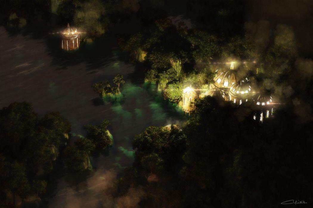 Konachan com - 235922 3d building landscape night nobody original scenic signed tree waisshu (sougyokyuu) water wallpaper