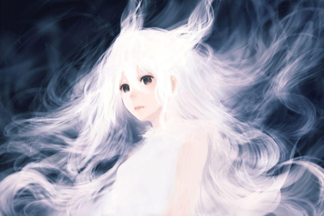 Konachan com - 236017 bou nin brown eyes long hair original polychromatic white hair wallpaper