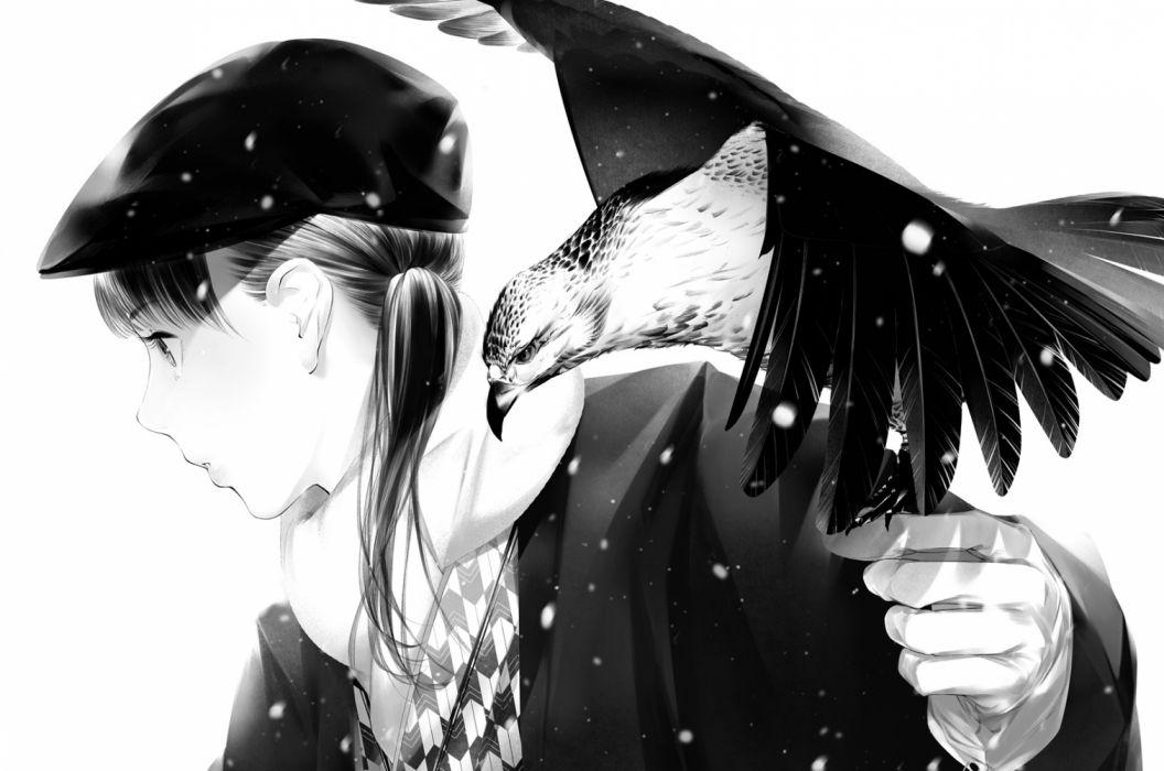 Konachan com - 235764 animal bird hat long hair monochrome original sawasawa scarf wallpaper