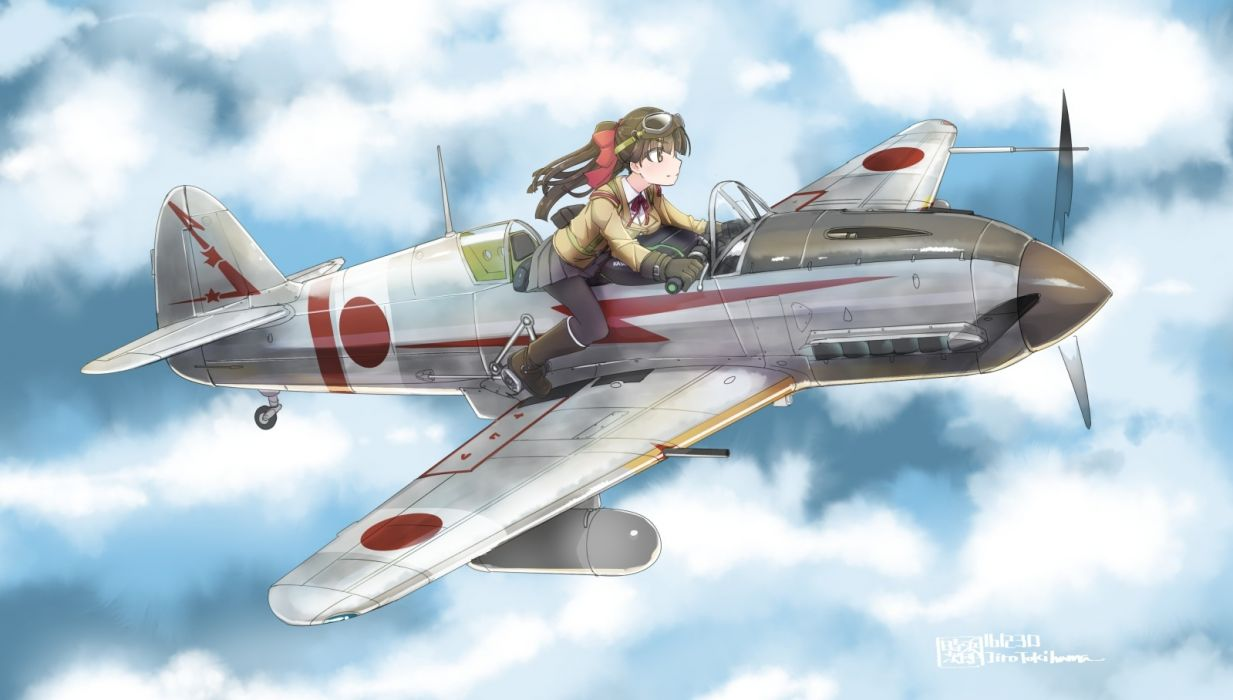 Konachan com - 235801 aircraft bow breasts brown eyes brown hair clouds gloves long hair original pantyhose ponytail seifuku skirt sky tokihama jirou watermark wallpaper