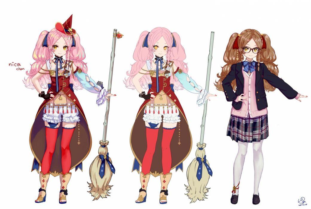Konachan com - 235792 bloomers braids choker garter glasses gloves hat long hair original pantyhose pink hair pisuke ribbons seifuku shorts signed white witch witch hat wallpaper