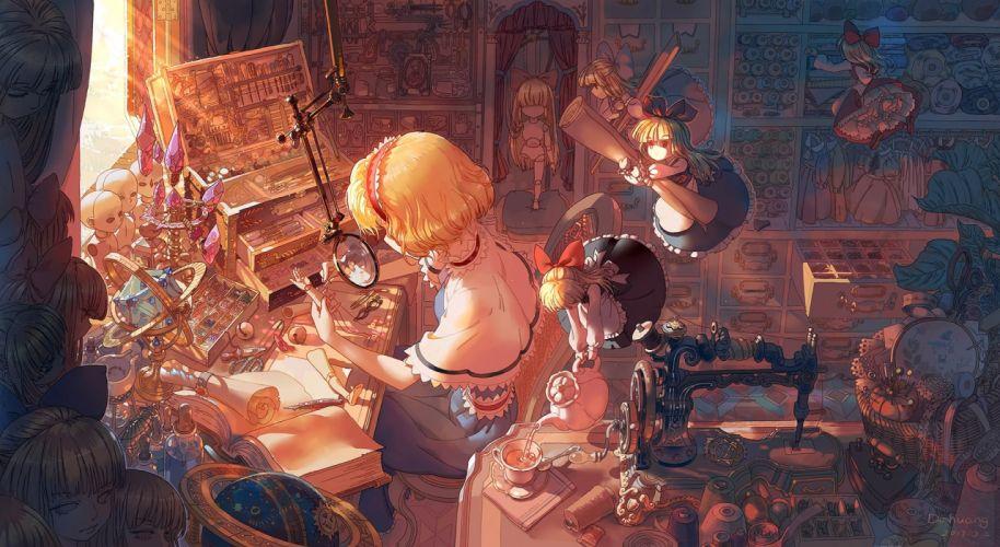 Konachan com - 235806 alice margatroid blonde hair book bow cape dahuang doll dress drink headband hourai long hair shanghai doll short hair signed touhou wallpaper