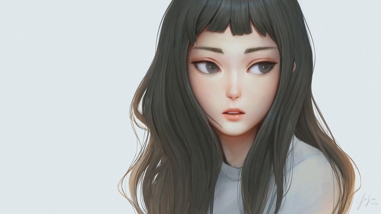 Konachan com - 235889 black hair close geo siador gray eyes long hair original realistic signed wallpaper