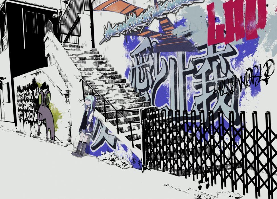 Konachan com - 235880 blue hair boots dress graffiti hoodie kneehighs original purple eyes scenic short hair stairs yamada kei wallpaper