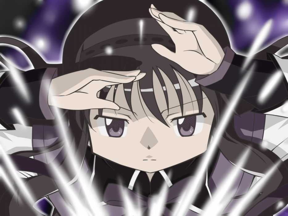 Konachan com - 235891 akemi homura black hair close long hair mahou shoujo madoka magica purple eyes seifuku takahan wallpaper
