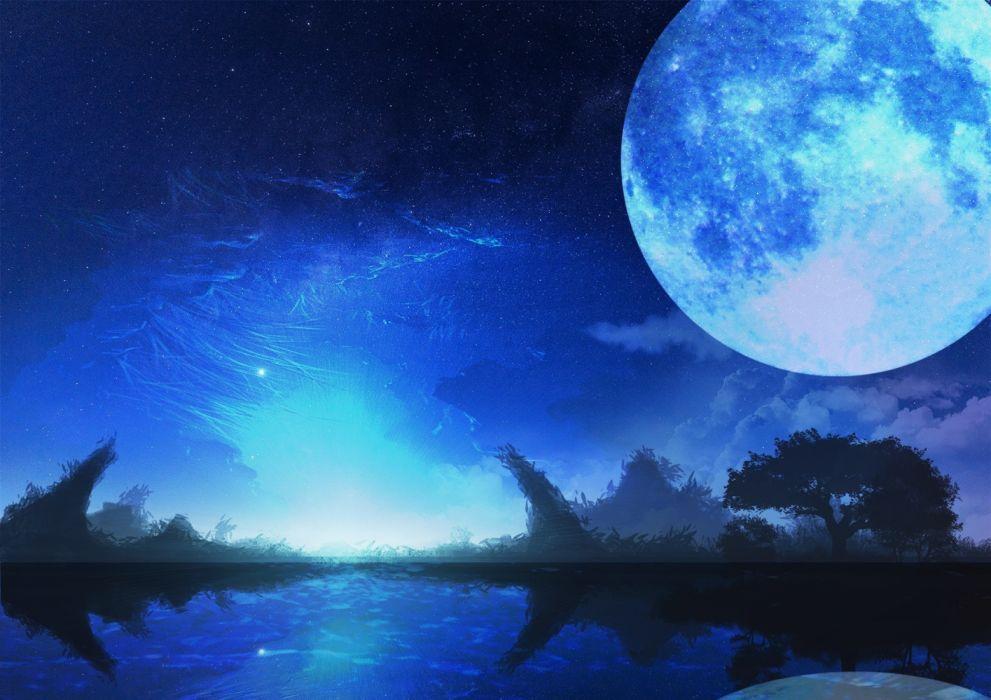 Konachan com - 235611 blue monochrome moon night nobody original scenic sorakuma (oycue41) tree water wallpaper