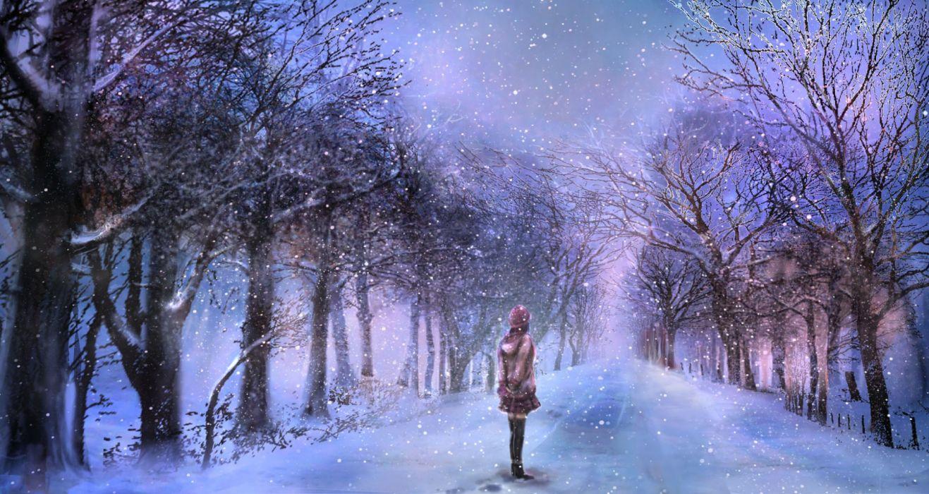 Konachan com - 235612 00 hat original scenic skirt snow thighhighs tree winter wallpaper