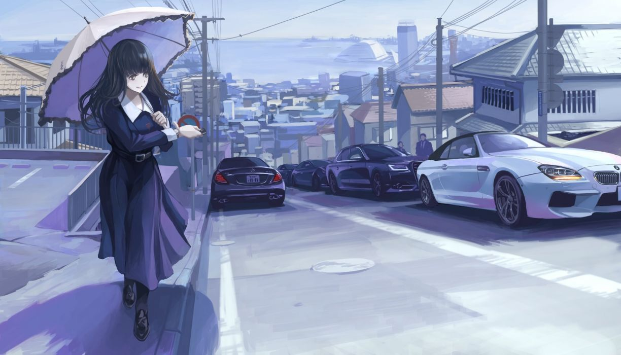 Konachan com - 235623 black eyes black hair building car city dress long hair male original terabyte (rook777) tie umbrella wallpaper