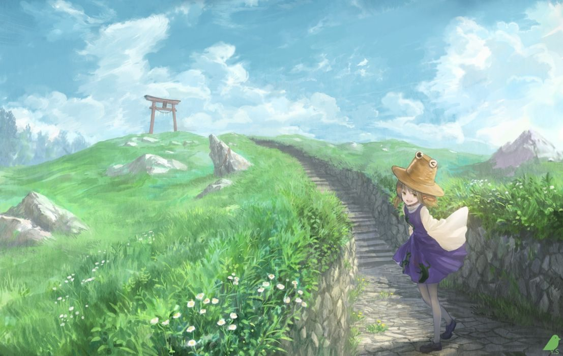 Konachan com - 235634 brown hair clouds dress flowers grass green eyes hat landscape moriya suwako pantyhose scenic short hair sky torii touhou you (shimizu) wallpaper