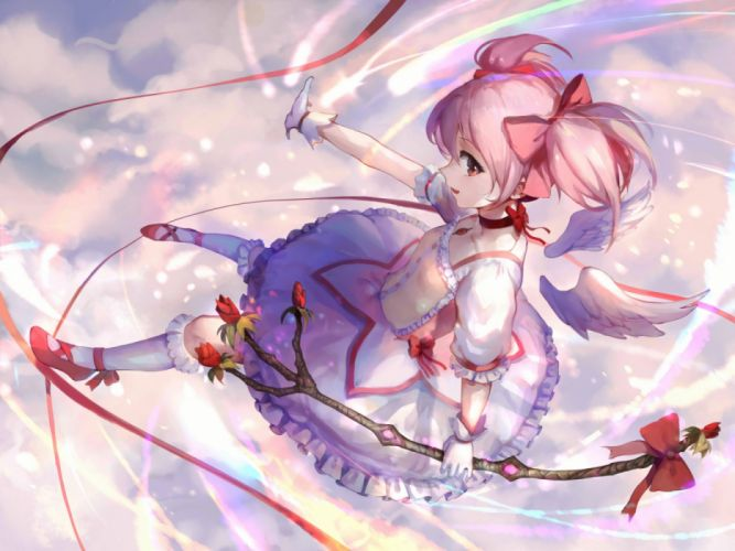 Konachan com - 235650 choker clouds dress flowers gloves kaname madoka mahou shoujo madoka magica pink hair red eyes short hair sishenfan socks twintails wings wallpaper