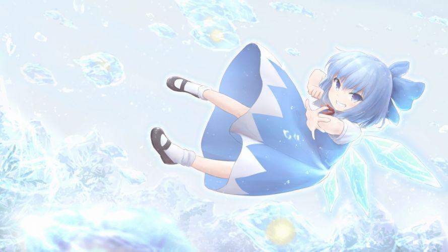 Konachan com - 235672 blue eyes blue hair bow cirno dress fairy loli short hair socks touhou wamu (chartreuse) wings wallpaper