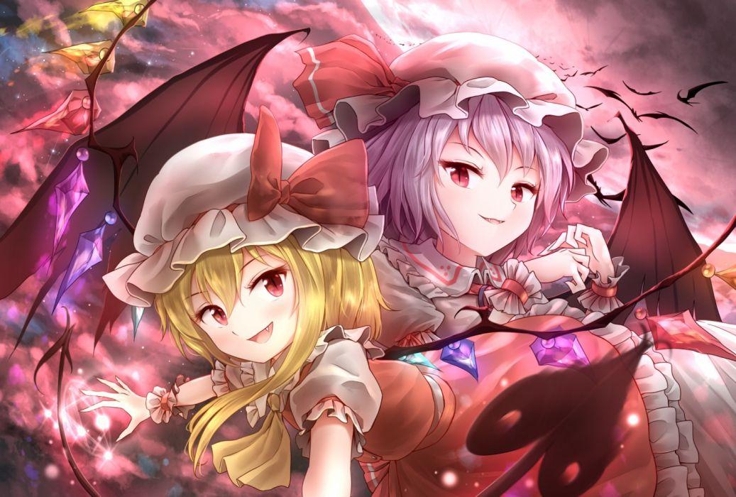 Konachan com - 235694 2girls flandre scarlet minust remilia scarlet touhou vampire waifu2x wallpaper