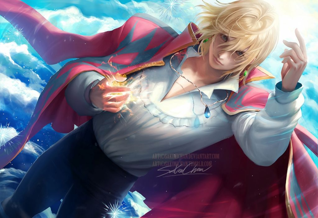 Konachan com - 235705 all male aqua eyes blonde hair clouds howl howl's moving castle magic male necklace realistic sakimichan short hair signed sky waifu2x watermark wallpaper