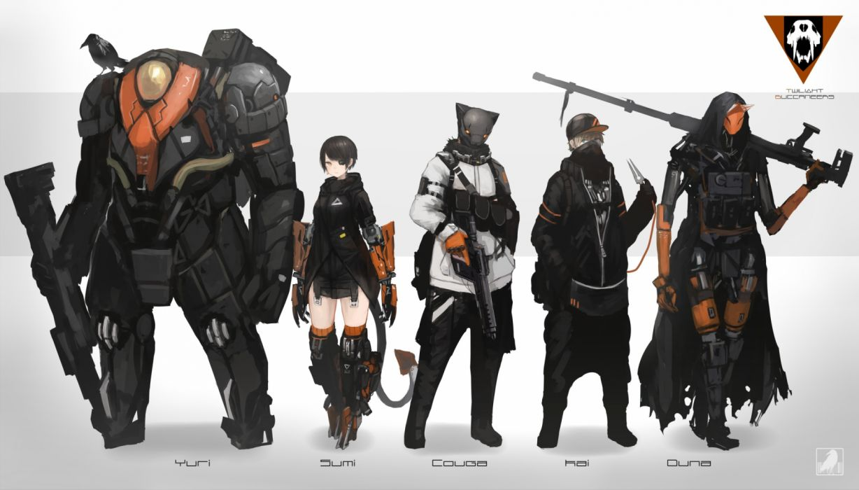 Konachan com - 235554 animal bird black hair blonde hair blue eyes eyepatch gloves group gun hat kasagarasu male mask original short hair tail techgirl thighhighs weapon wallpaper