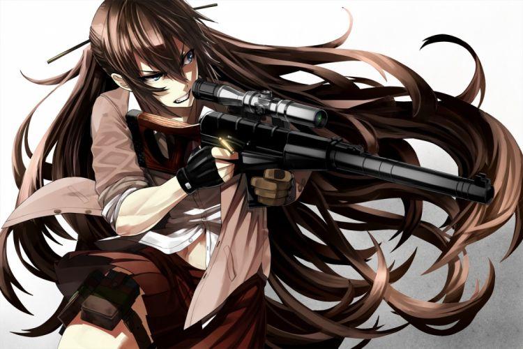 Konachan com - 235564 aliasing blue eyes brown hair gloves gun long hair navel original seifuku skirt tef weapon wallpaper