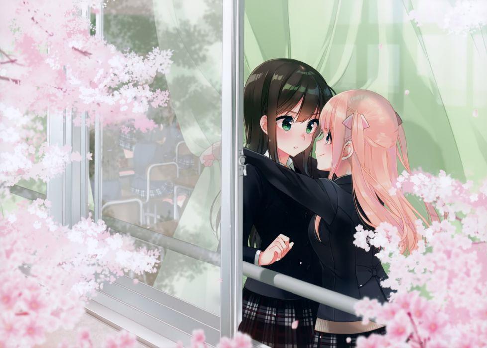 Konachan com - 235481 aqua eyes black hair cherry blossoms gray eyes koruri pink hair scan seifuku skirt wallpaper