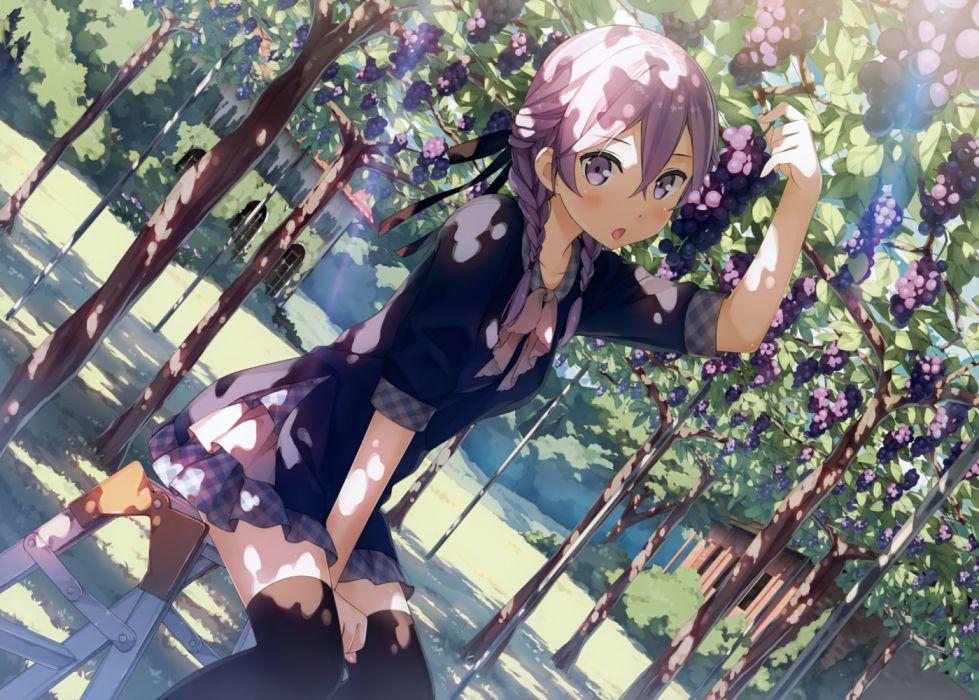 Konachan com - 235463 blush braids food fruit kantoku purple eyes purple hair scan short hair thighhighs tree twintails wallpaper