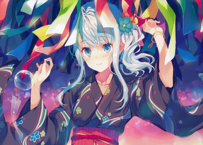 Konachan com - 235485 aqua eyes blush japanese clothes reia scan white hair yukata wallpaper