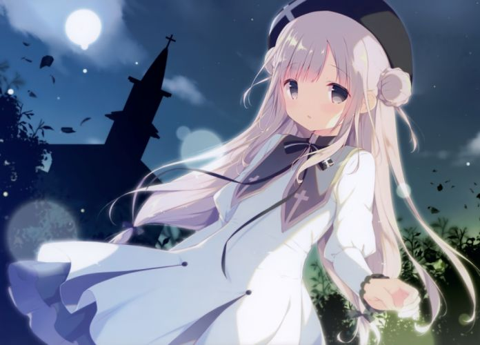 Konachan com - 235488 cross dress gray eyes long hair moon night scan shiratama white hair wallpaper