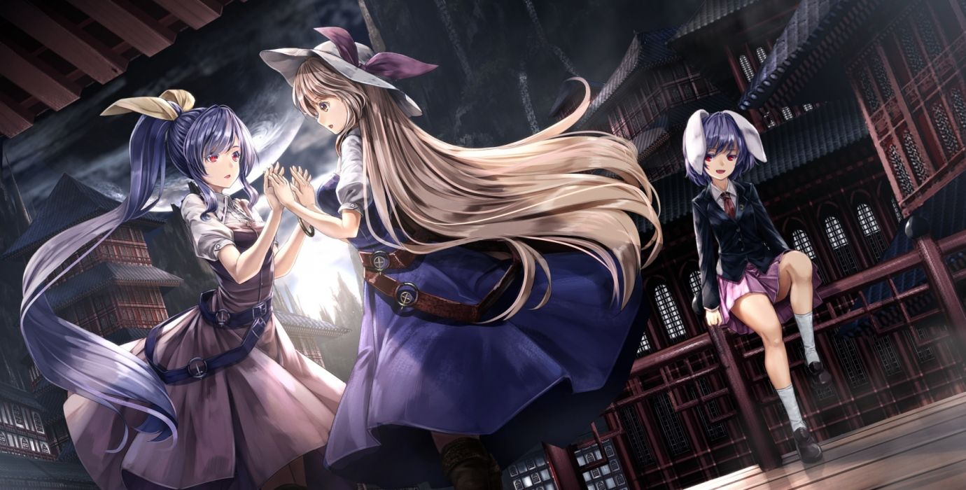Konachan com - 235512 blue hair boots building city clouds dress hat kneehighs long hair moon planet ponytail red eyes reisen ryosios skirt sky tie touhou water wristwear wallpaper