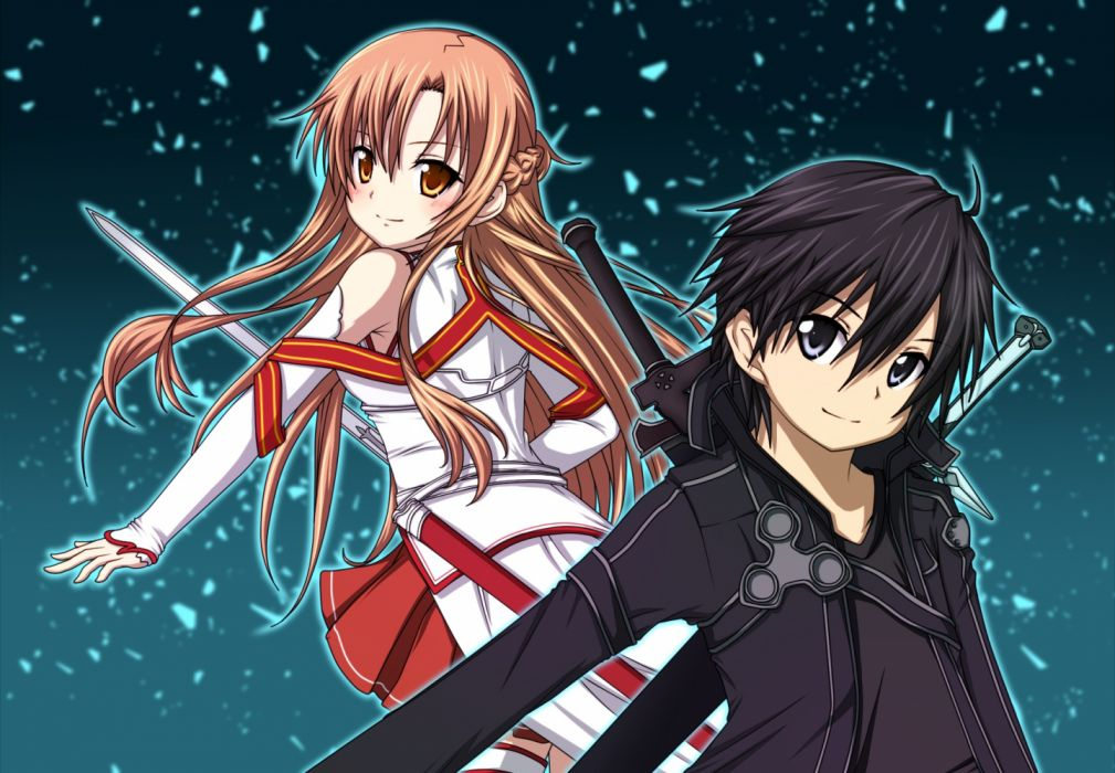 Konachan com - 235408 black eyes black hair blush braids brown eyes brown hair kirigaya kazuto kuena long hair male short hair skirt sword weapon yuuki asuna wallpaper