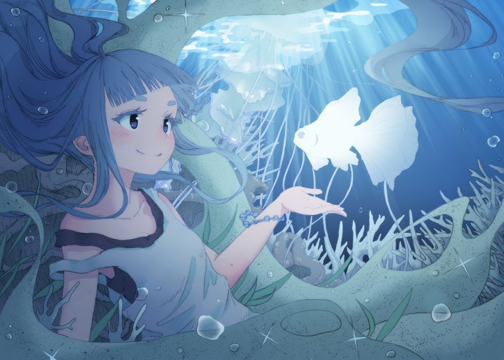 Konachan com - 235242 animal blue eyes blue hair blush breasts cleavage fish long hair matsukawa li original shirt underwater water wallpaper