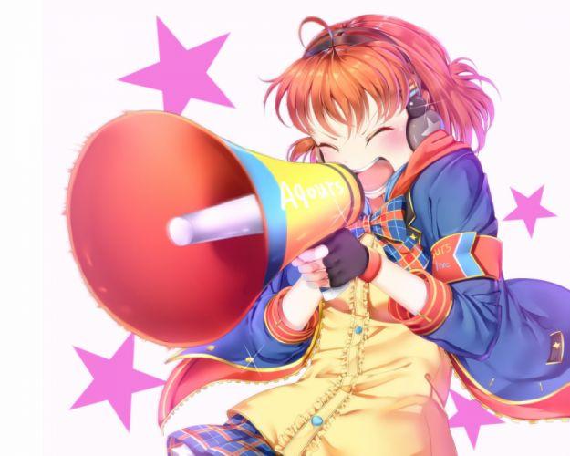 Konachan com - 235260 blush bow gloves hachinatsu headphones love live! school idol project love live! sunshine!! orange hair short hair stars takami chika wallpaper