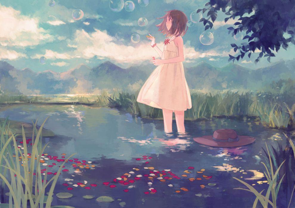 Konachan com - 235345 bow brown eyes brown hair bubbles clouds dress gabaisuito-n grass hat jpeg artifacts leaves original short hair sky tree water wallpaper