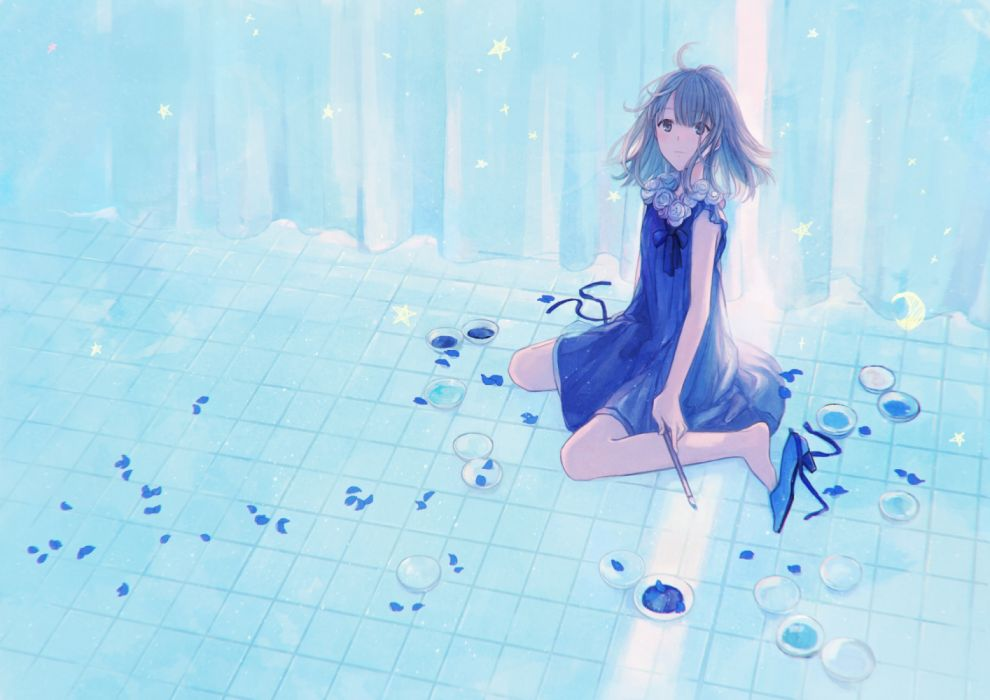 Konachan com - 235339 aqua eyes aqua hair blue dress gabaisuito-n original petals short hair wallpaper