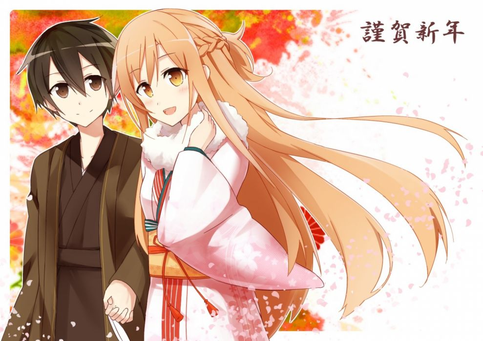 Konachan com - 235122 com black eyes black hair blush braids brown eyes brown hair kimono kirigaya kazuto long hair male petals short hair sword art online yuuki asuna wallpaper
