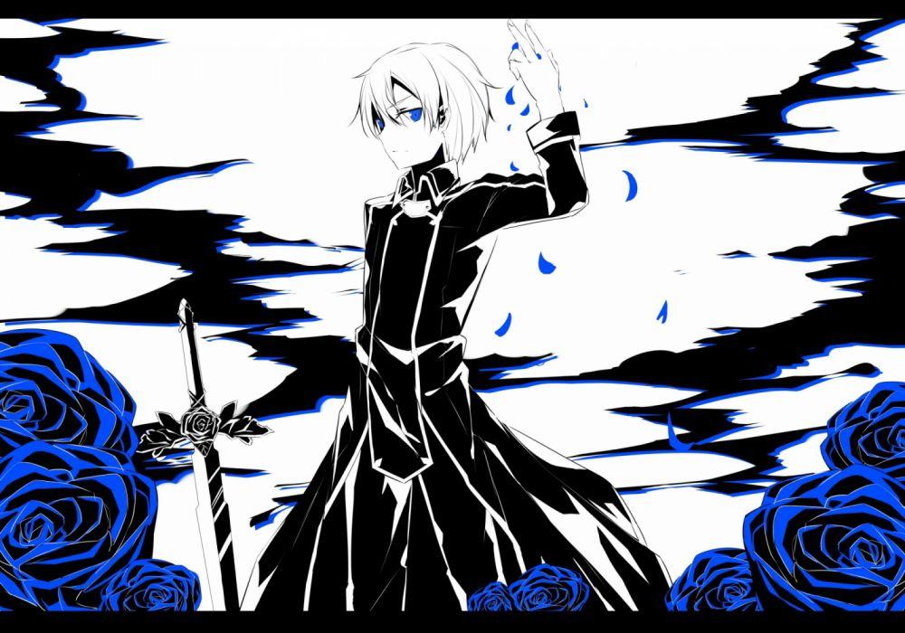 Konachan com - 235123 aliasing all male blue eyes eugeo flowers male mizuna suki petals short hair sword sword art online weapon wallpaper