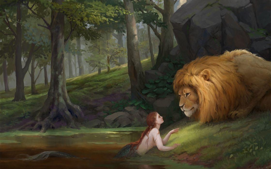 fantasy girl leon mermaid animal forest red hair wallpaper