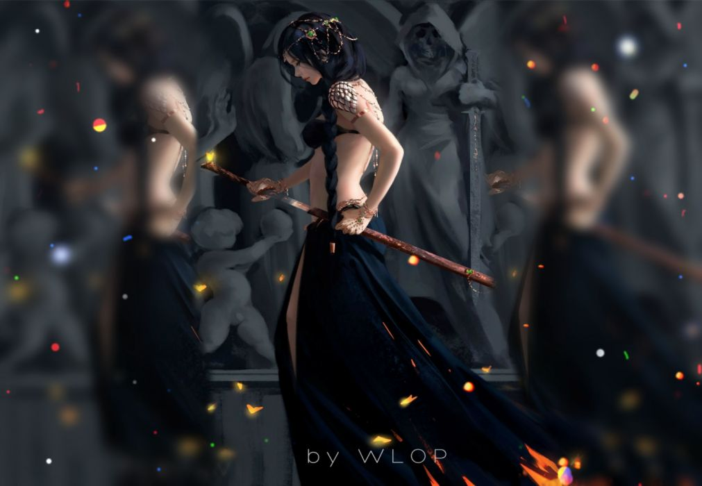 sword warrior girl fire dress longhair woman wallpaper