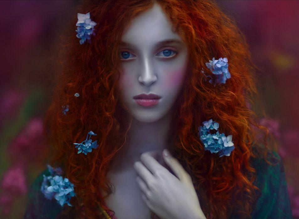 female blue eyes red hair flower beauty wallpaper