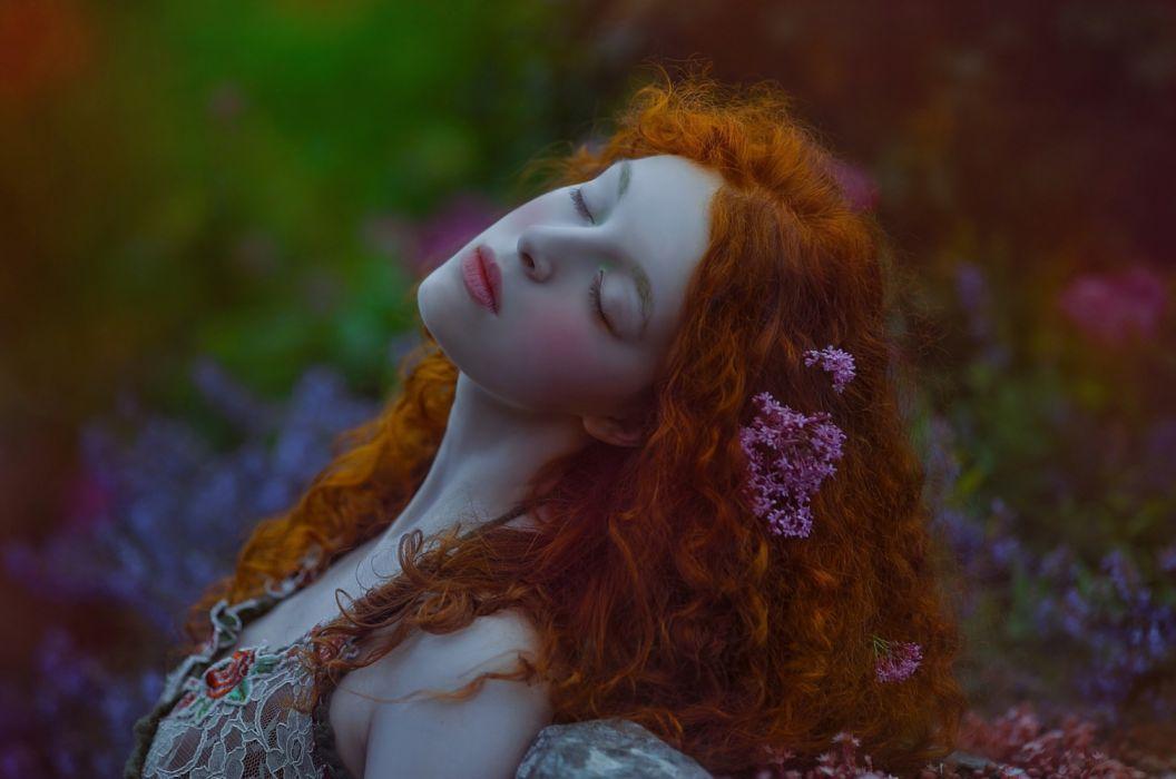 female red hair flower beauty wallpaper