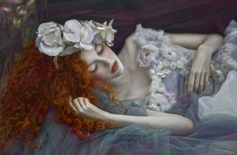 bride female woman red hair flower wallpaper