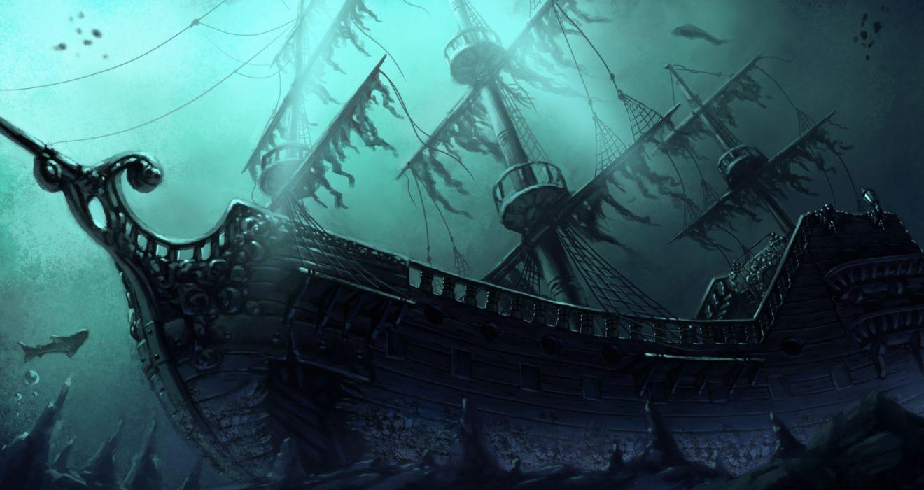 fantasy underwater ship fish wallpaper