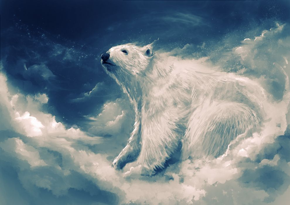 fantasy cloud sky animal bear wallpaper