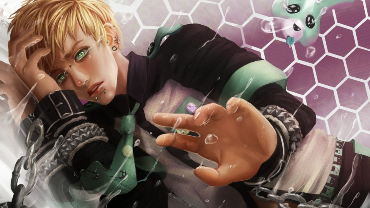 blond boy fantasy green eyes wallpaper