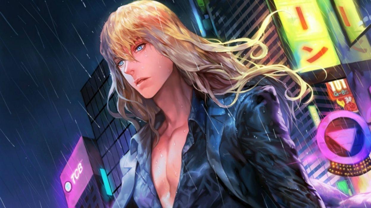 long hair boy blond city rain wallpaper