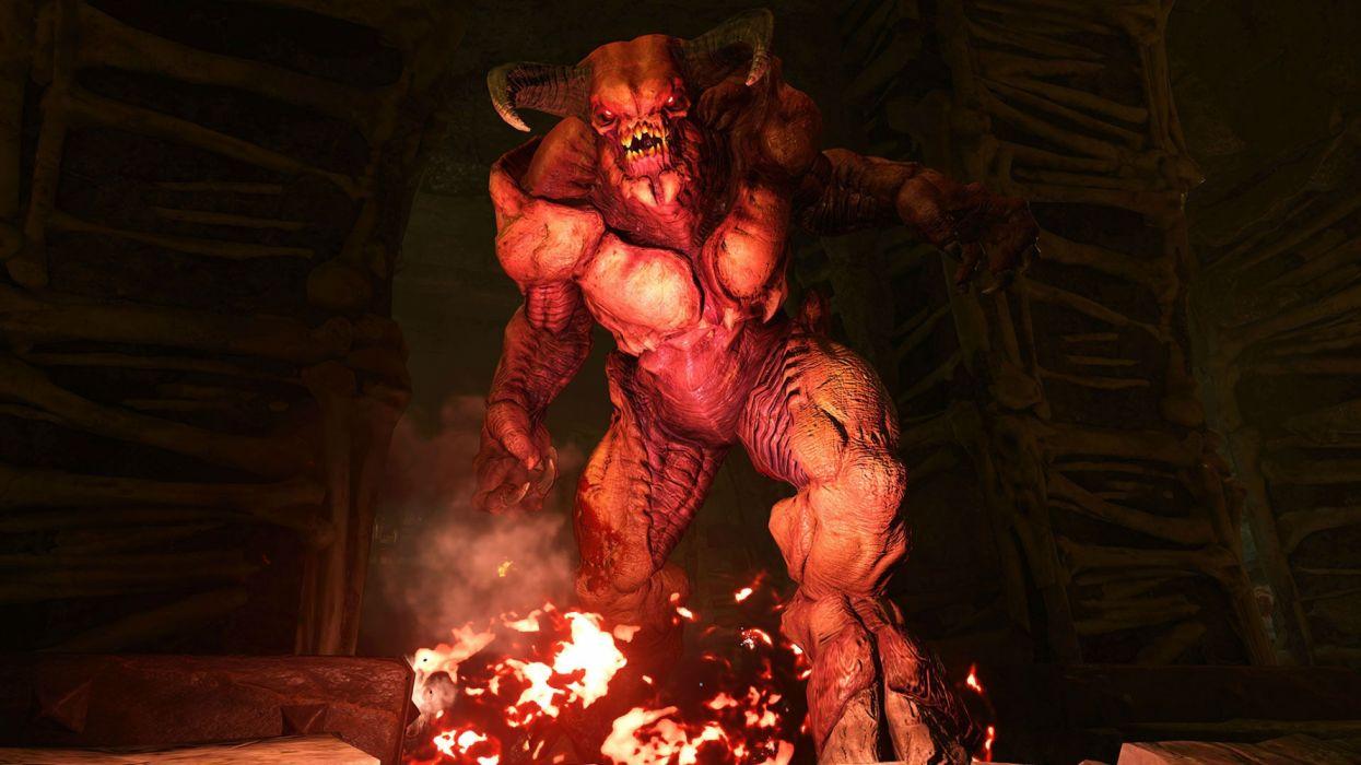 DOOM action dark evil fighting fps futuristic sci-fi warrior technics game video horror wallpaper