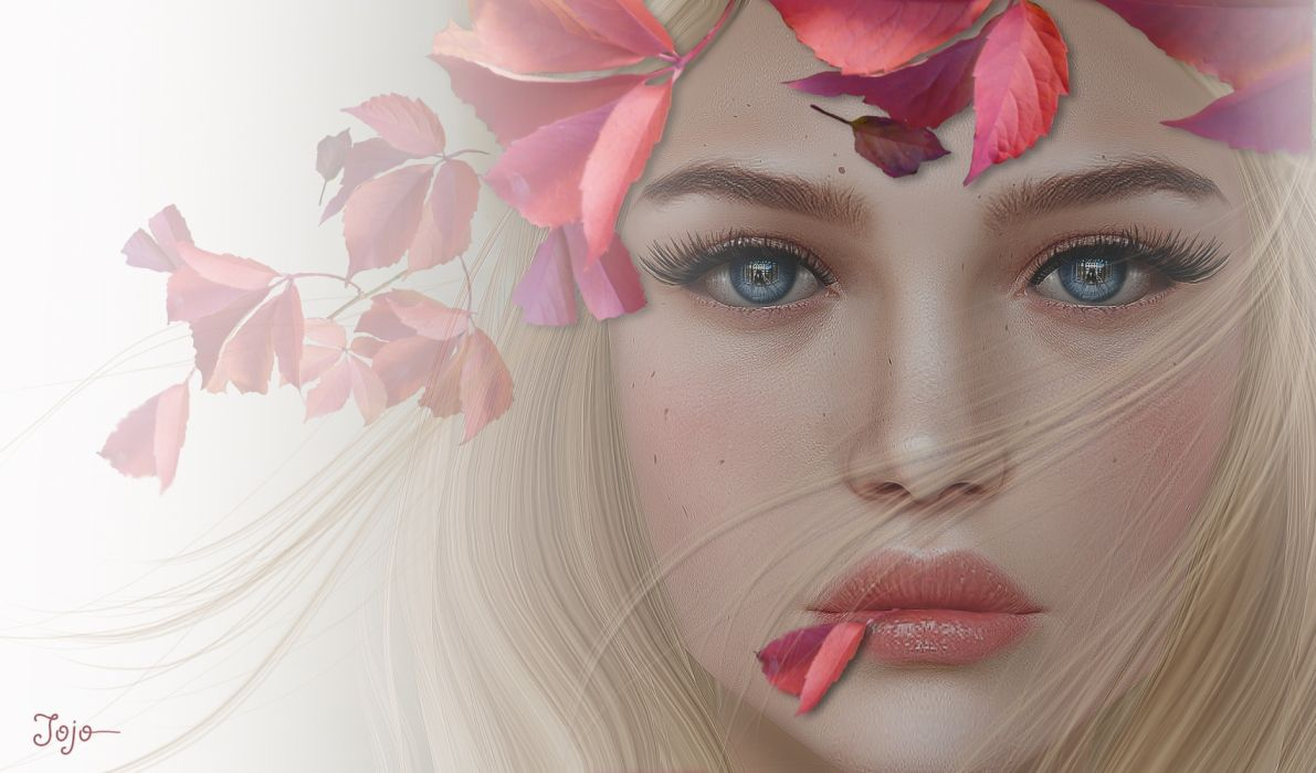3d graphics girls beautiful leaves autumn wallpaper