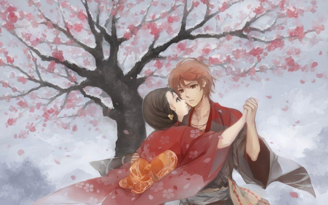 pair romance two art Hanasaku Manimani wallpaper