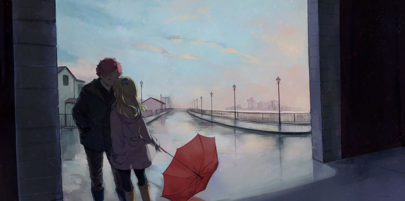 city girls road love men sky objects drawings wallpaper