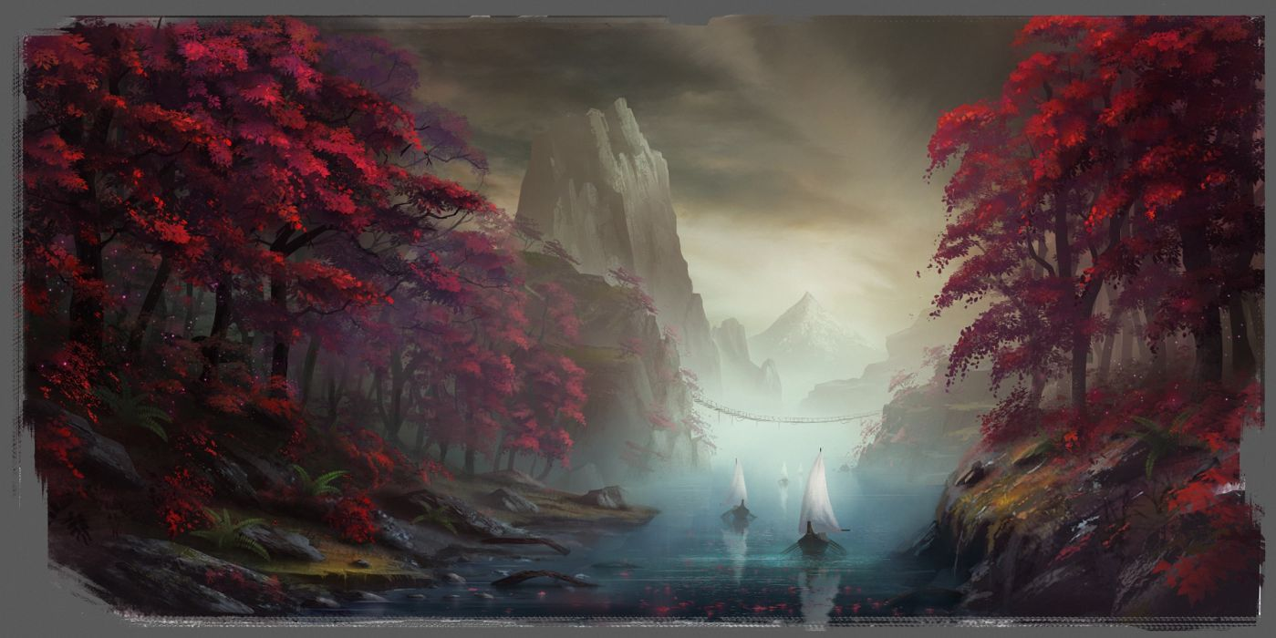 fantasy water mountains trees ships bridges sky nature figures wallpaper