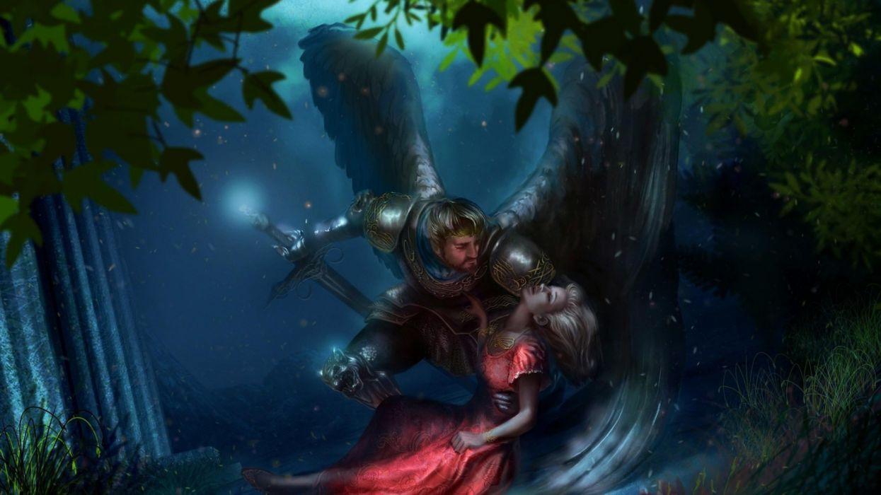 angels girls trees military men night nature fantasy couple wallpaper