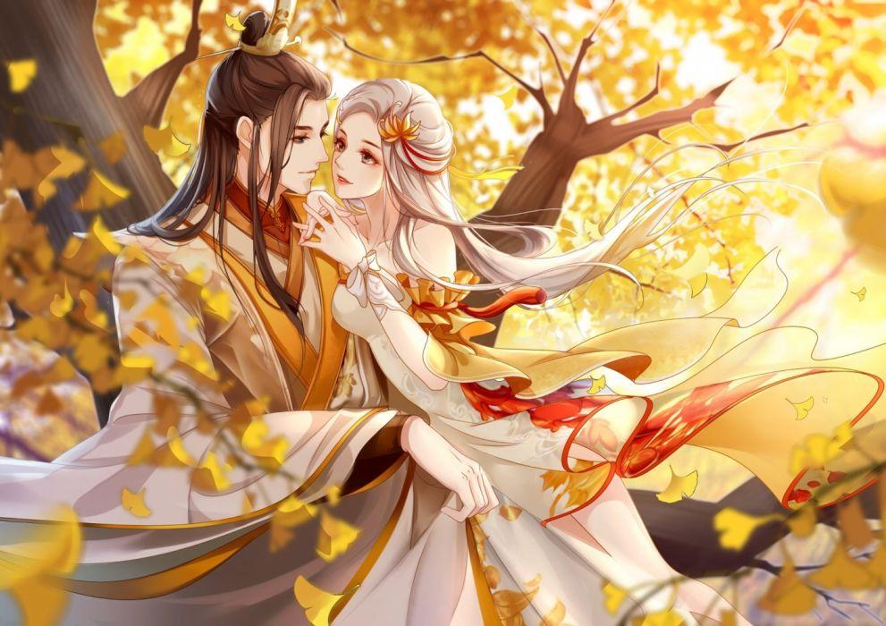 girls forest leaves love men autumn drawings couple wallpaper