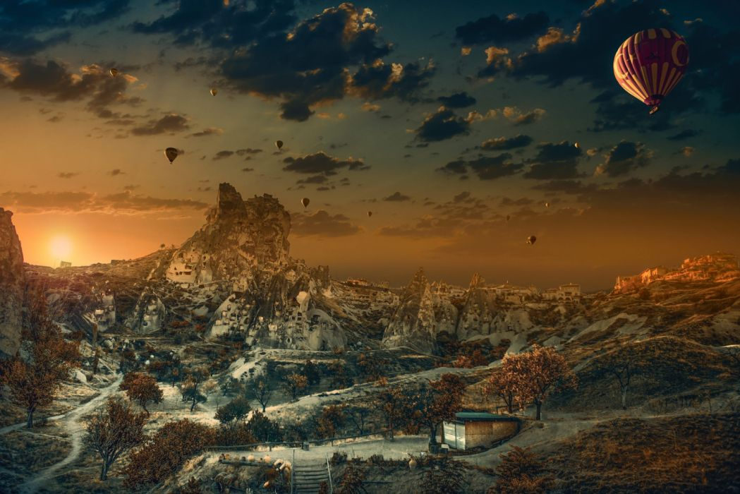 Balloons in the sky photographer ZekiSeferoglu balloons mountains trees houses sky autumn nature sun widescreen turker turkiye landscape beauty wallpaper