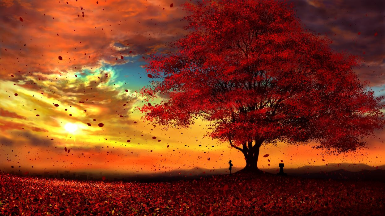 girl trees leaves sky autumn nature drawings wallpaper